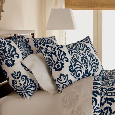 Embroidered Linen Damask Sham, Navy ,  , large