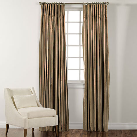 """90"""" Moss Green and Gold Taffeta Stripe Inverted Pleat Panel ,  , large"""