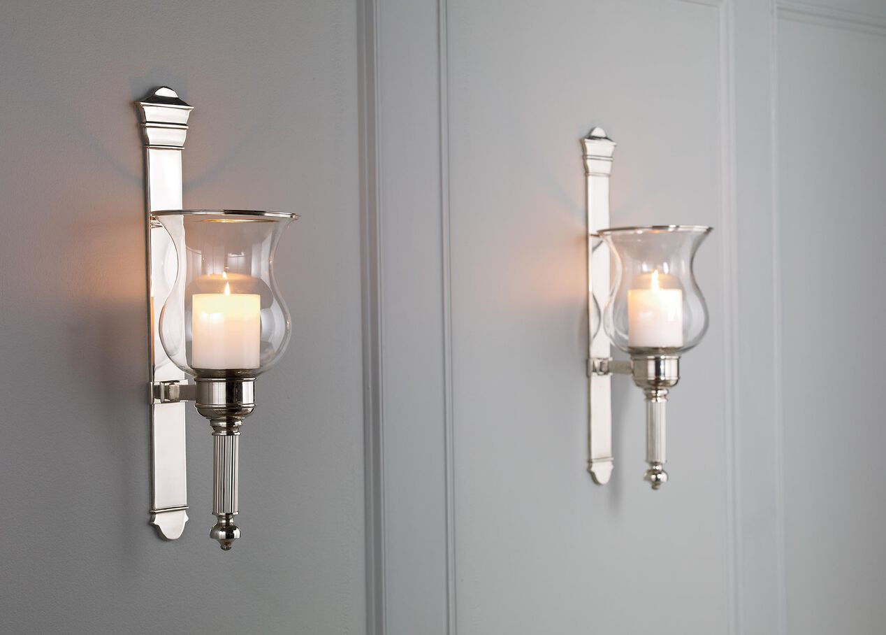 Tristan Nickel Wall Hurricane Candle Holders