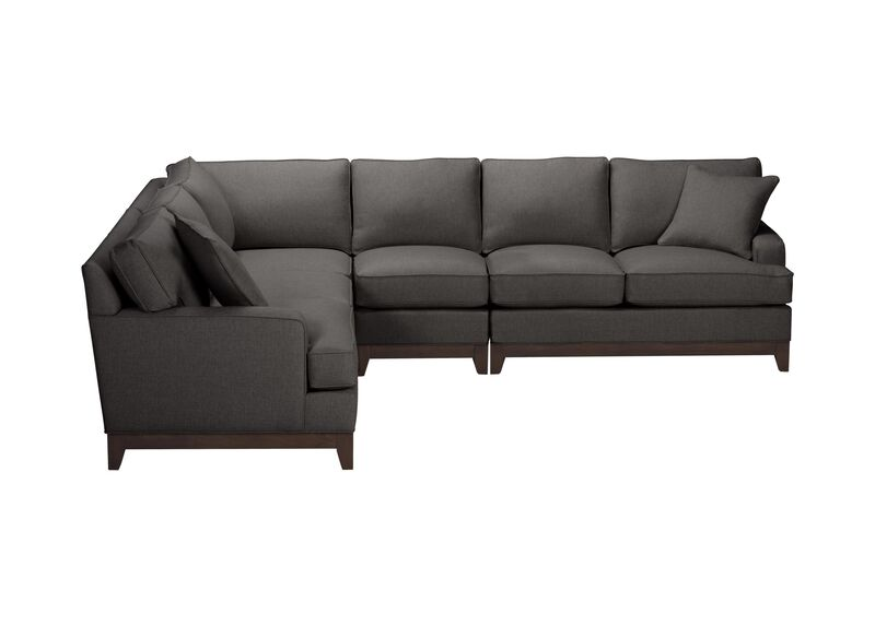 Arcata Four Piece Sectional, Quick Ship , Hailey Charcoal (Q1055), solid texture , large_gray