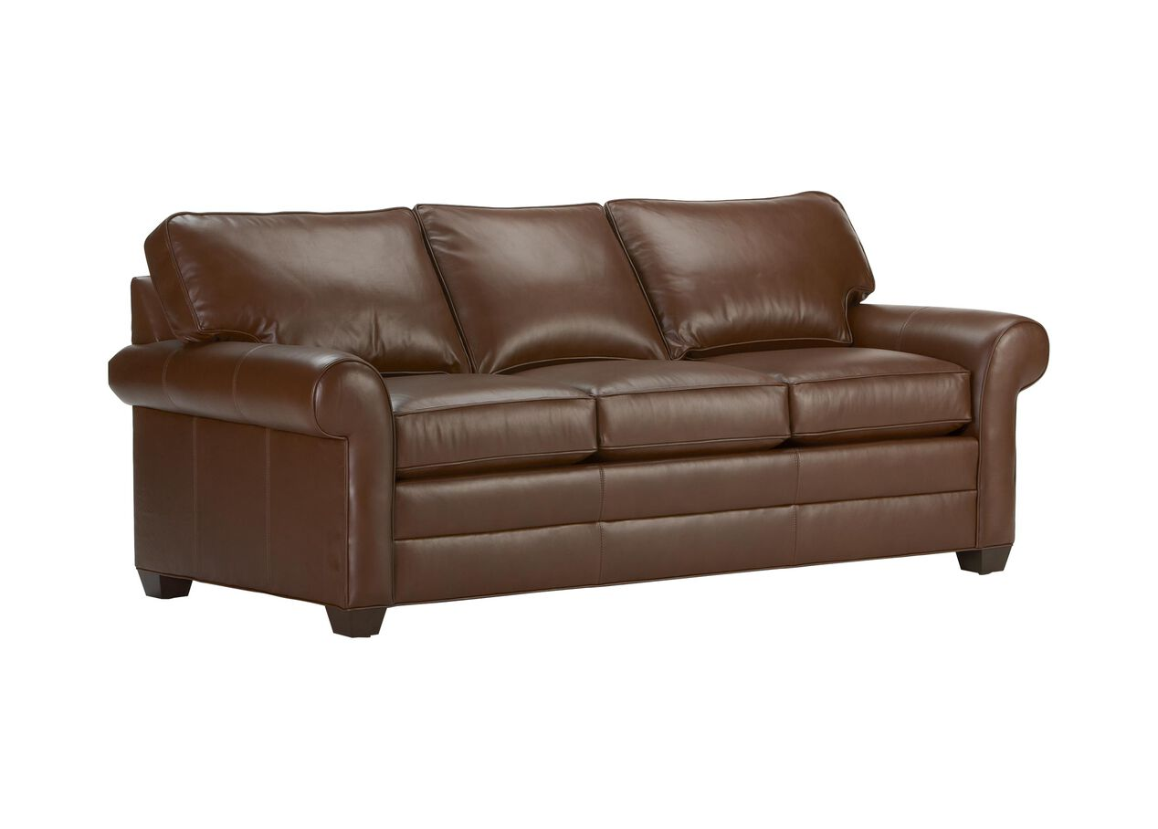 Bennett roll arm leather sofa sofas loveseats for Sofa en l liquidation