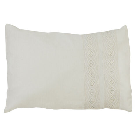 Ivory Linen Sheer Lace Pillowcase ,  , large