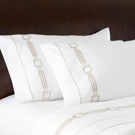 Camdyn Embroidered Pillowcases, White/Flax ,  , large