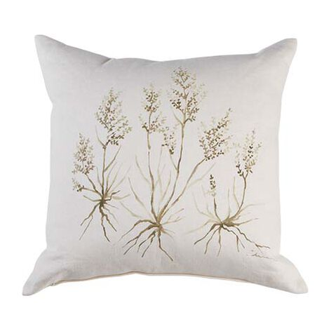 Neutral Botanical Hand-Painted Pillow ,  , large