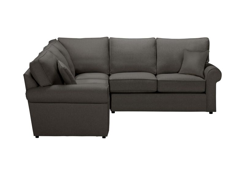 Retreat Roll-Arm Three Piece Sectional, Quick Ship , Hailey Charcoal (Q1055), solid texture , large_gray