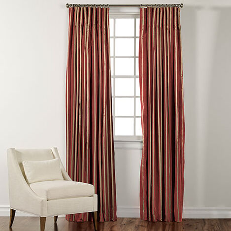 "90"" Chinois Red and Gold Taffeta Stripe Inverted Pleat Panel ,  , large"
