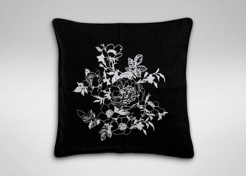 Black and White Floral Embroidered Linen Pillow ,  , large_gray