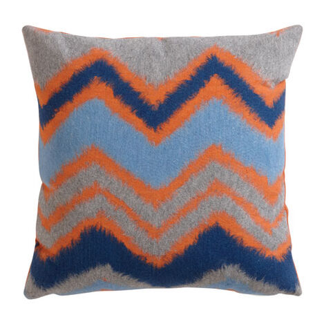 Coussin chevron zigzag, orange/bleu ,  , large