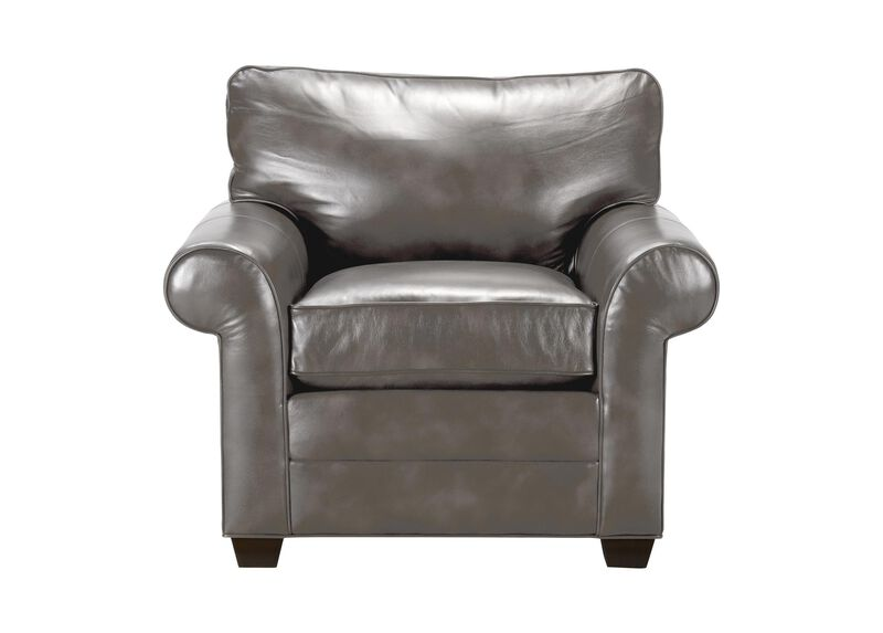 Bennett Roll-Arm Leather Chair, Quick Ship ,  , large_gray