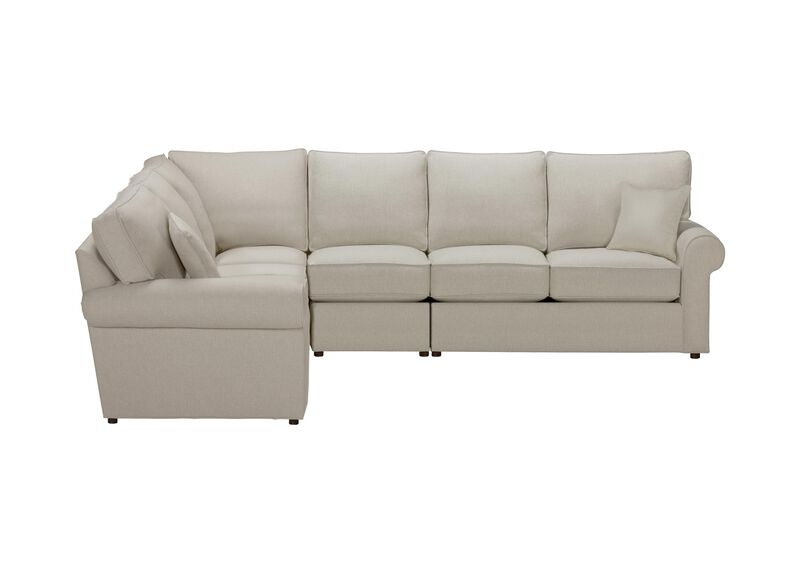 Retreat Roll-Arm Four Piece Sectional, Quick Ship , Hailey Natural (Q1031), solid texture , large_gray