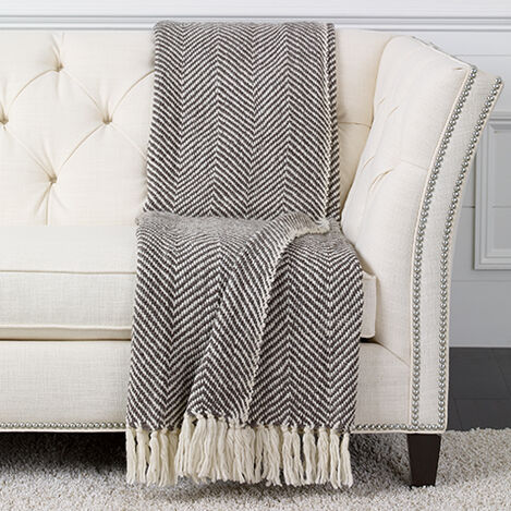 Herringbone Knit Throw, Brown/White ,  , large