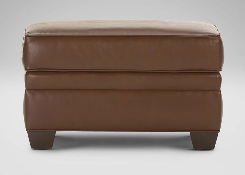 Bennett Leather Ottoman ,  , large_gray