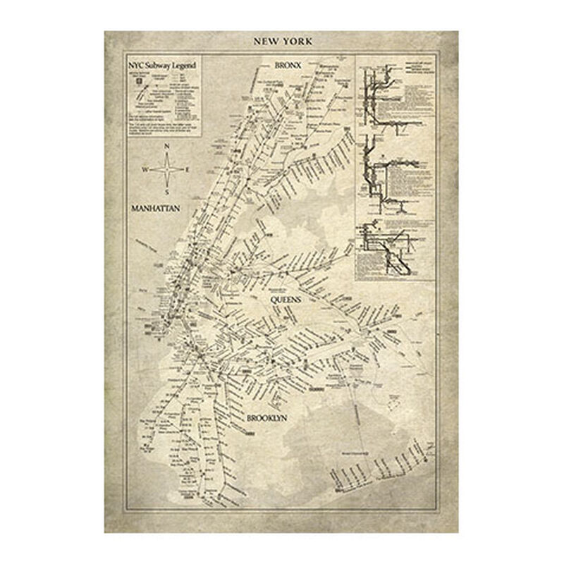 New York Subway Map Vintage ,  , large