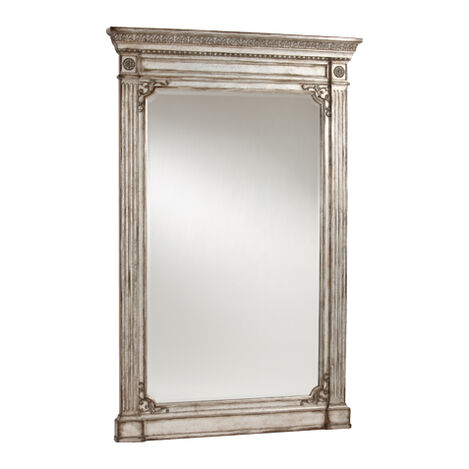 Antique Silver Madeleine Trumeau Floor Mirror ,  , large
