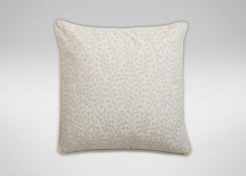 Crewel Embroidered Branch Pillow, Ivory ,  , large_gray
