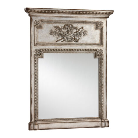 Antique Silver Madeleine Trumeau Wall Mirror ,  , large