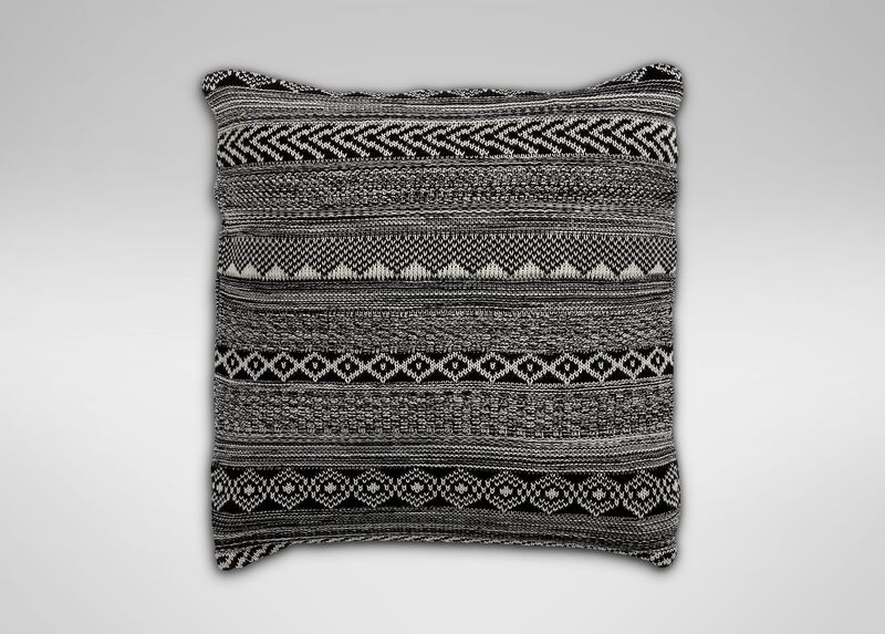 Black and White Graphic Knit Pillow ,  , large_gray