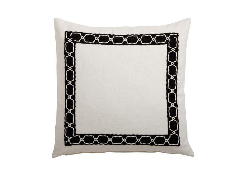 Framed Ivory Pillow, Black/Ivory ,  , large_gray