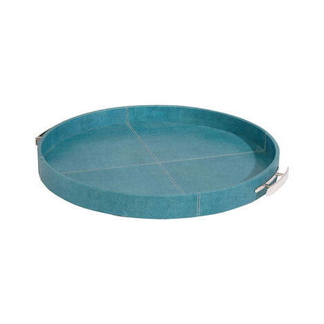 Round Turquoise Leather Tray ,  , large