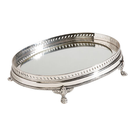 Oval Mirrored Silver Tray ,  , large