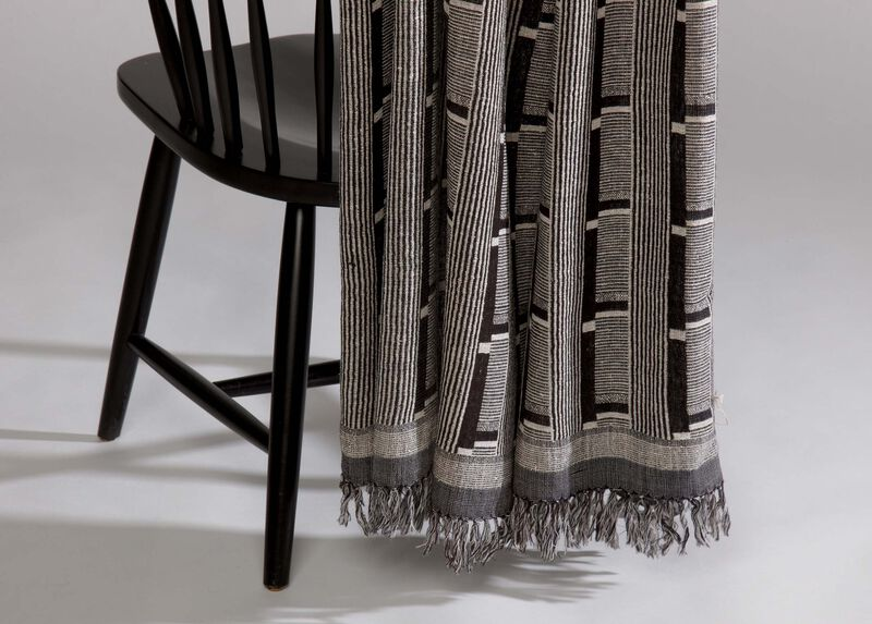 Black and Gray Wool and Silk Throw ,  , large_gray