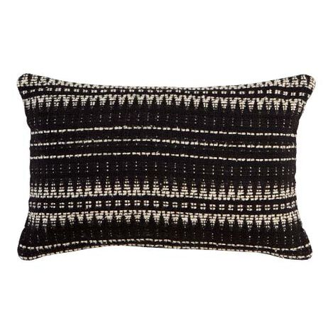"12"" x 20"" Black and Ivory Woven Silk Pillow ,  , large"
