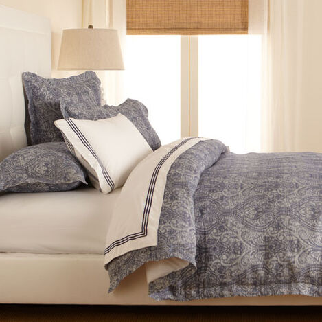 Washed Linen Paisley Full/Queen Duvet Cover, Navy ,  , large