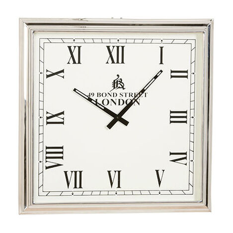 Horloge murale carrée en nickel ,  , large