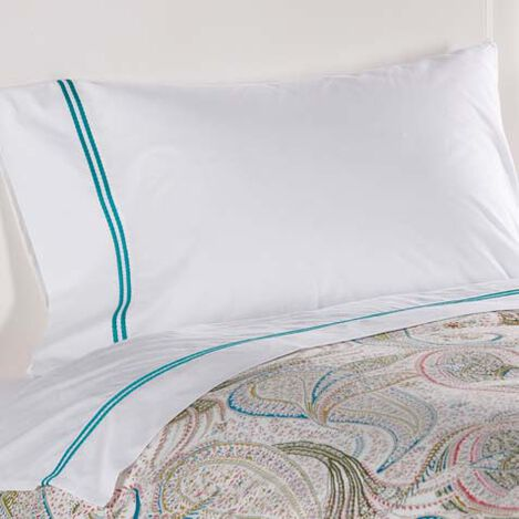 Sirena Embroidered Sheet Set, Turquoise ,  , large