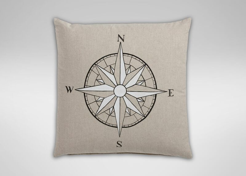 Hand-Painted Compass Rose Pillow ,  , large_gray