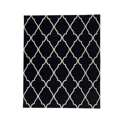 Fretwork Dhurrie Rug, Black ,  , large