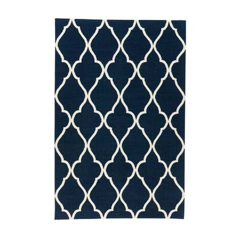 Fretwork Dhurrie Rug, Navy ,  , large