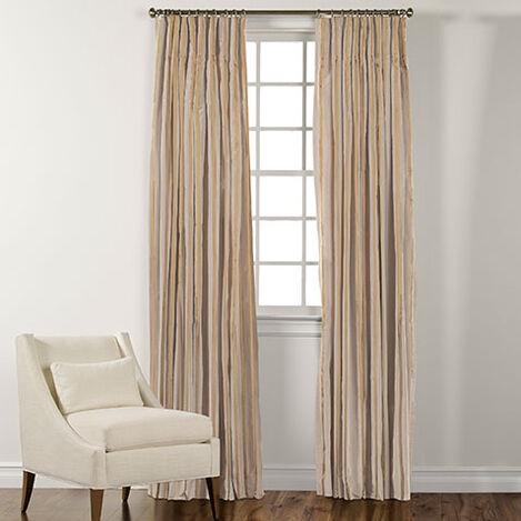 "100"" Ivory and Pearl Taffeta Stripe Inverted Pleat Panel ,  , large"