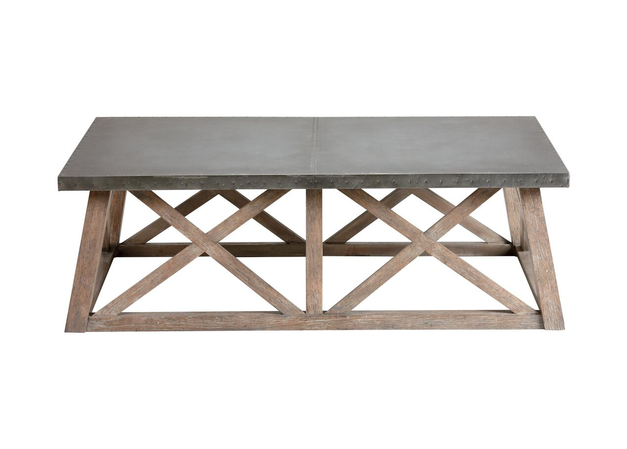 Bruckner metal top coffee table coffee tables for Html table th always on top