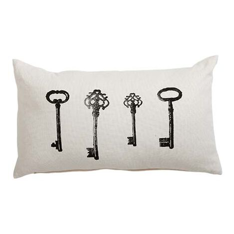 Block-Printed Iron Keys Pillow ,  , large