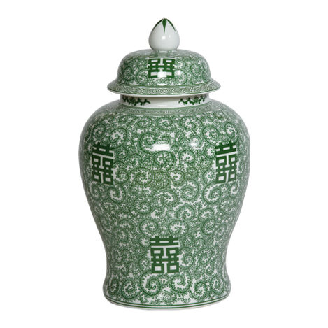 "18"" Green and White Temple Jar ,  , large"