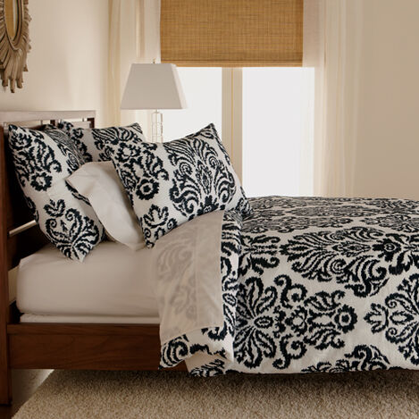 Embroidered Linen Damask King Duvet Cover, Black and White ,  , large