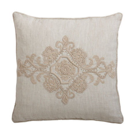 Embroidered Scroll on Natural Linen Pillow ,  , large