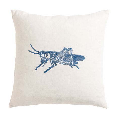 Block-Printed Blue Grasshopper Pillow ,  , large