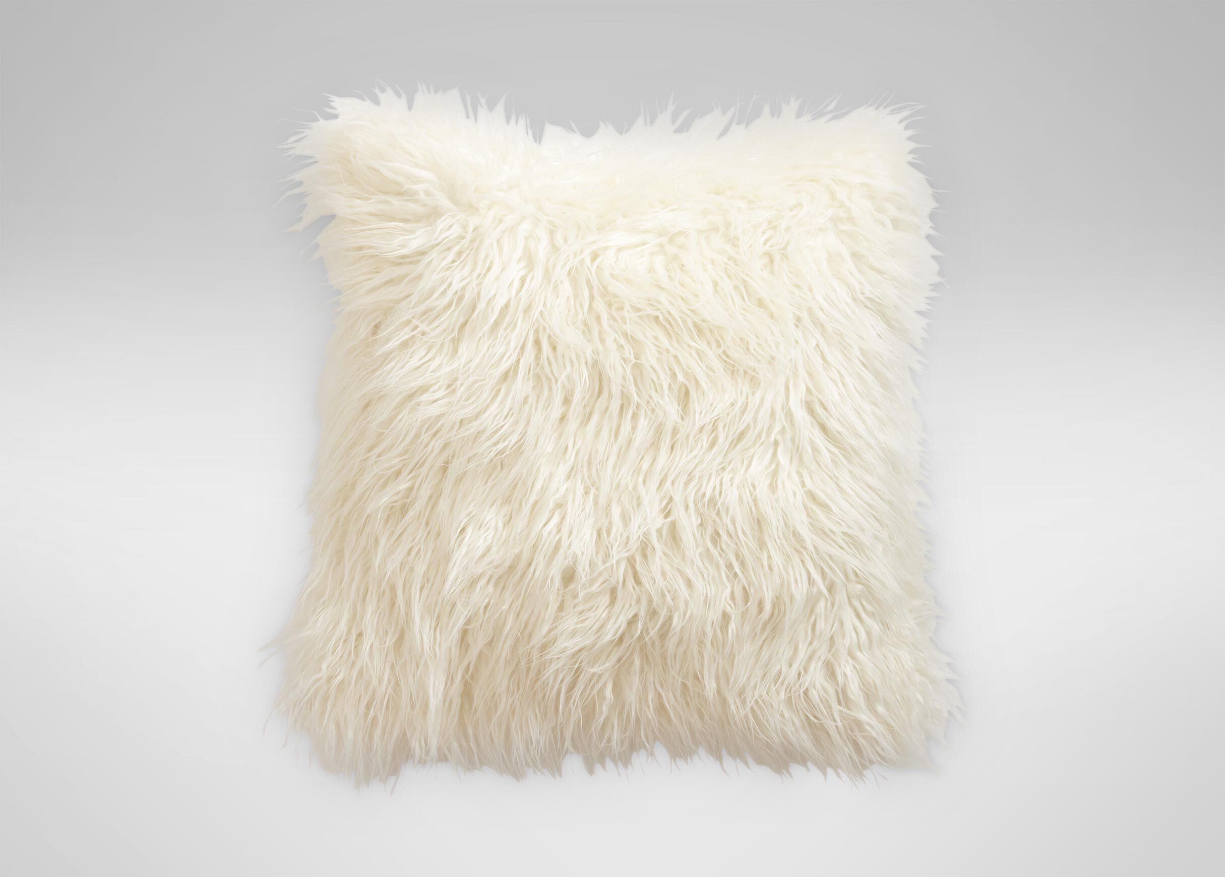 ivory faux fur pillow largegray