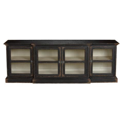 farragut media cabinet rustic black with white interior large