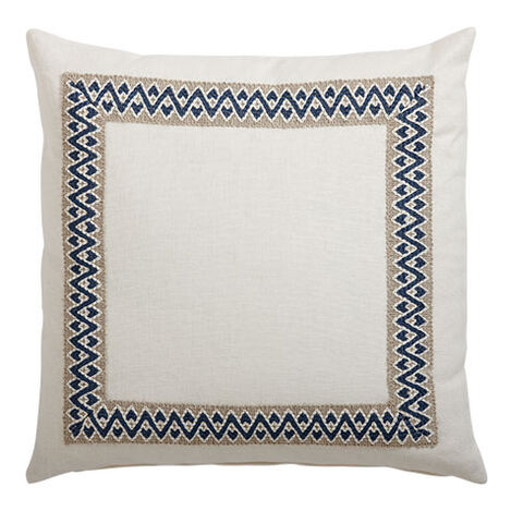 Framed Ivory Pillow, Navy/Taupe ,  , large