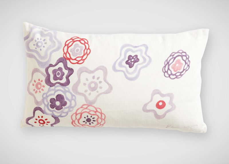 Nikki Hand-Painted Floral Pillow ,  , large_gray