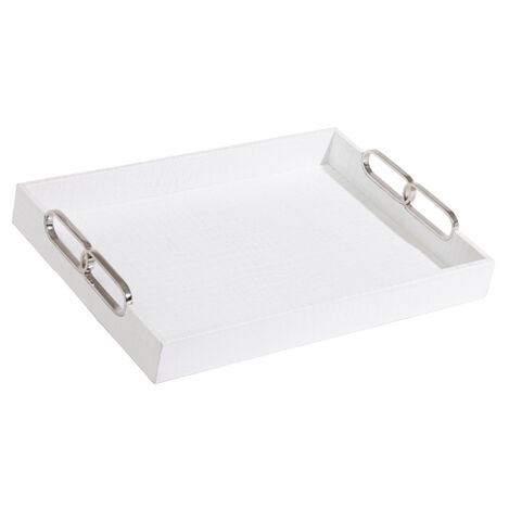 Rectangular White Leather Tray ,  , large