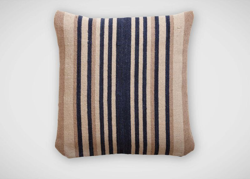 Navy and Sand Stripe Wool Pillow ,  , large_gray