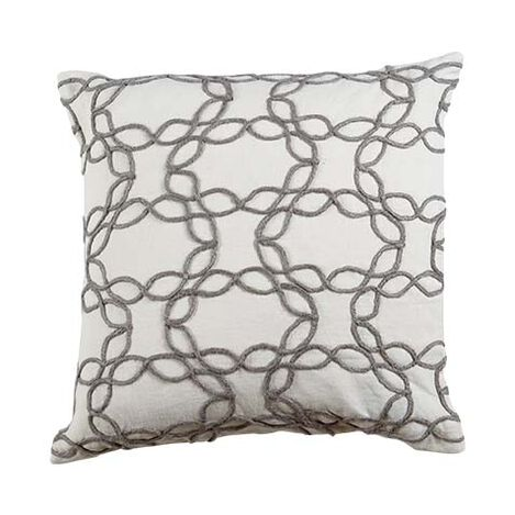 Wavy Jute Pillow, Ivory/Gray ,  , large