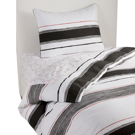 Mixed Stripe Duvet Cover and Sham, Mickey's Ears Black ,  , large