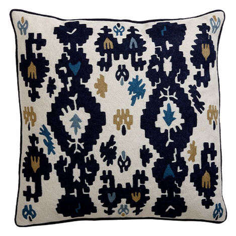 Crewel Embroidered Ikat Pillow ,  , large