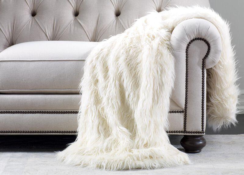 Ivory Faux Fur Throw