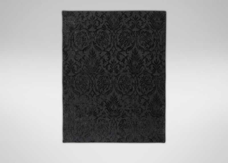 Jacquard Damask Rug, Black ,  , large_gray